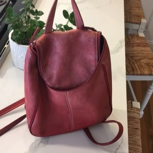 Tignanello red leather backpack